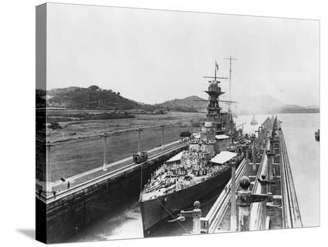 HMS Hood in Panama Canal--Stretched Canvas Print