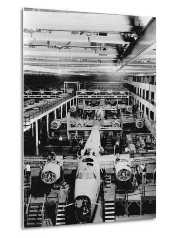 Assembly of B-24 Bombers at Willow Run Plant--Metal Print