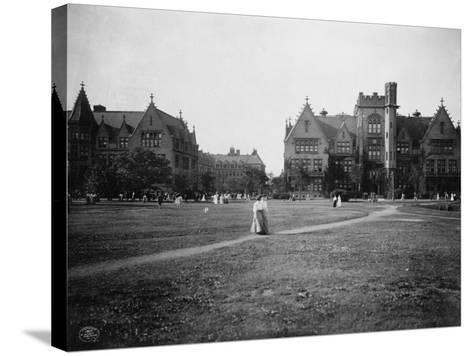 Students at University of Chicago Campus--Stretched Canvas Print