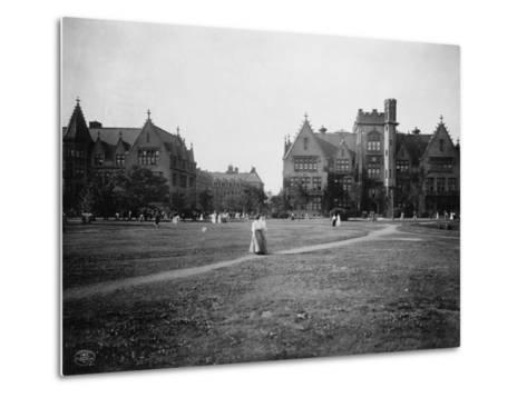 Students at University of Chicago Campus--Metal Print