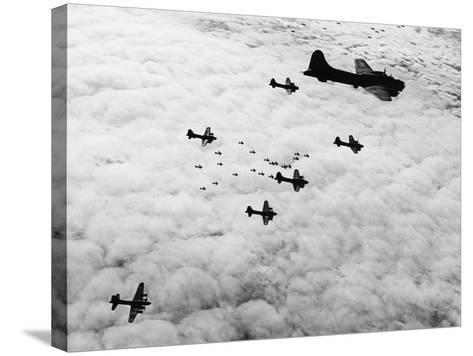 Flying Fortresses in Flight over Germany--Stretched Canvas Print