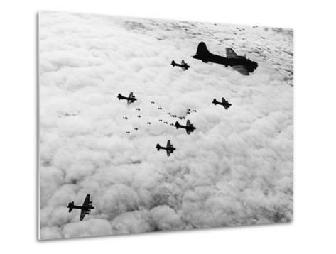 Flying Fortresses in Flight over Germany--Metal Print