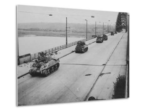 Tanks Cross Nijmegen Bridge--Metal Print