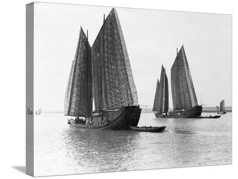 Junks on the Yangtze River--Stretched Canvas Print