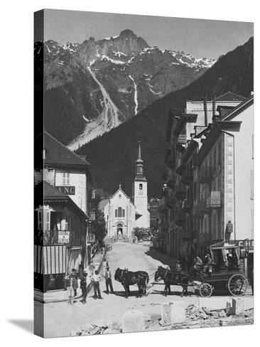 Horse-Drawn Carriage in Chamonix--Stretched Canvas Print