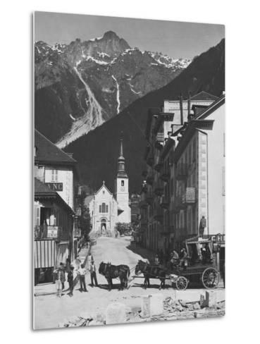 Horse-Drawn Carriage in Chamonix--Metal Print