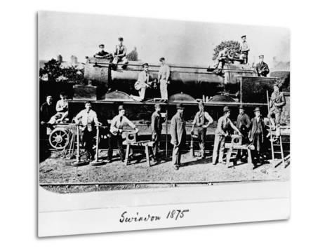 Men and Wolverhampton Locomotive--Metal Print