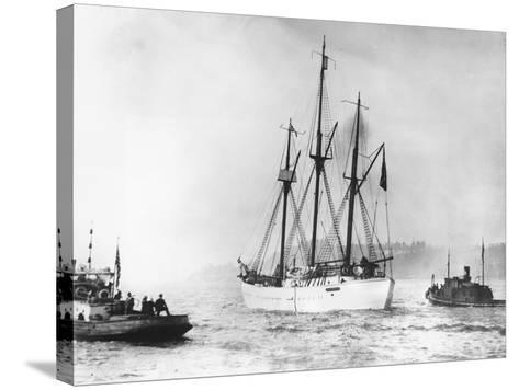 Amundsen's Vessel Returns from the Arctic--Stretched Canvas Print