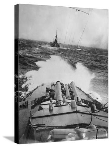 HMS Audacious in a Storm--Stretched Canvas Print