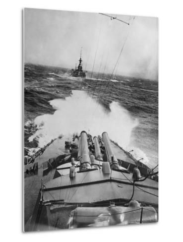 HMS Audacious in a Storm--Metal Print