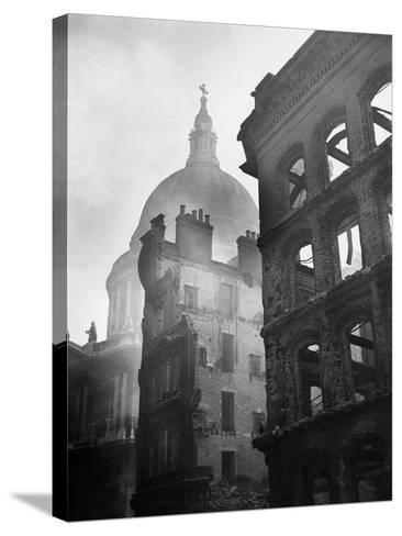 Saint Paul's Cathedral Admist Ruins--Stretched Canvas Print