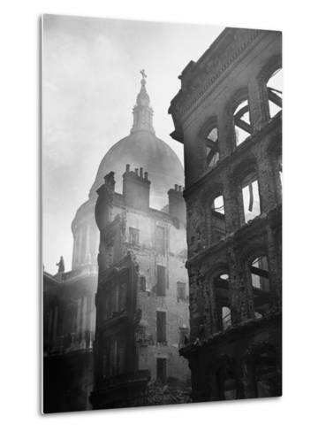 Saint Paul's Cathedral Admist Ruins--Metal Print