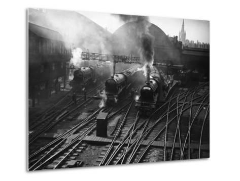 Holiday Expresses About to Leave King's Cross Station--Metal Print