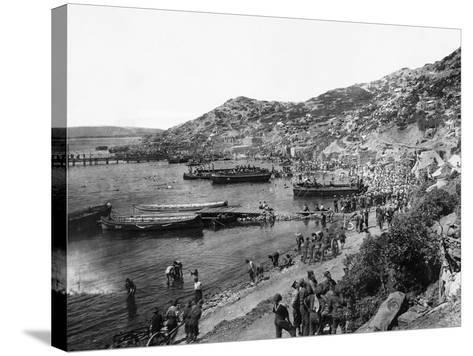 Troops Landing at Anzac Cove, Gallipoli--Stretched Canvas Print