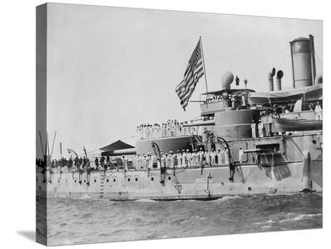 USS Massachusetts Warship--Stretched Canvas Print
