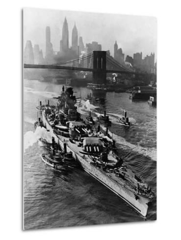 French Battleship Richelieu Passes Brooklyn Bridge--Metal Print