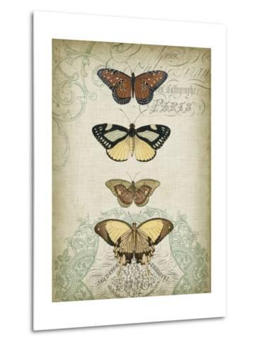 Cartouche and Butterflies I-Jennifer Goldberger-Metal Print