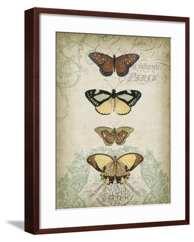 Cartouche and Butterflies I-Jennifer Goldberger-Framed Art Print