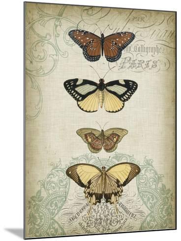 Cartouche and Butterflies I-Jennifer Goldberger-Mounted Art Print