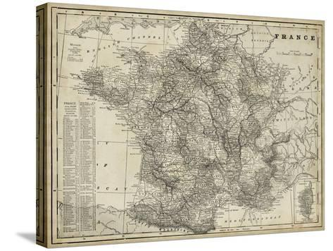 Antique Map of France-Vision Studio-Stretched Canvas Print