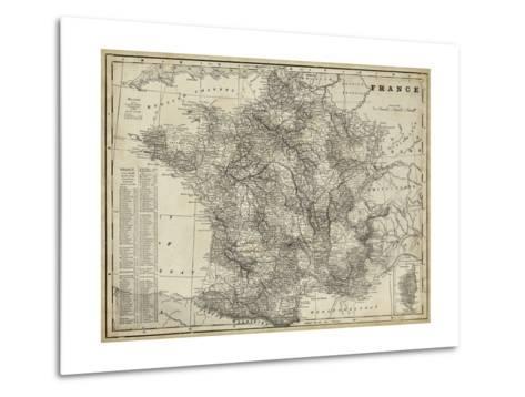 Antique Map of France-Vision Studio-Metal Print