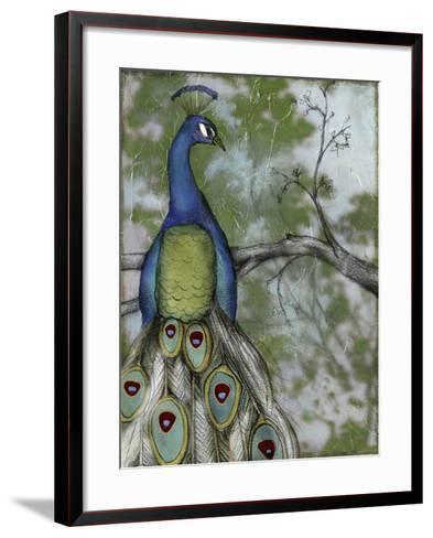 Peacock Reflections II-Jennifer Goldberger-Framed Art Print