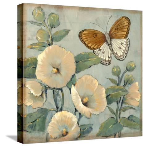 Butterfly and Hollyhocks I-Tim O'toole-Stretched Canvas Print