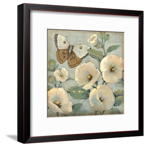Butterfly and Hollyhocks II-Tim O'toole-Framed Art Print