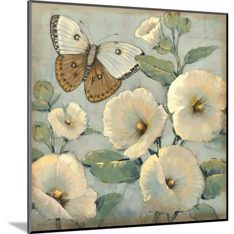 Butterfly and Hollyhocks II-Tim O'toole-Mounted Art Print