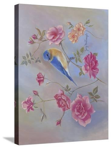 Blue Bird in Roses-Judy Mastrangelo-Stretched Canvas Print