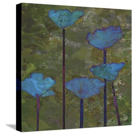 Teal Poppies I-Ricki Mountain-Stretched Canvas Print