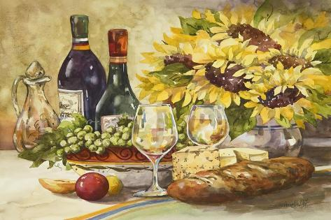Wine and Sunflowers-Jerianne Van Dijk-Stretched Canvas Print