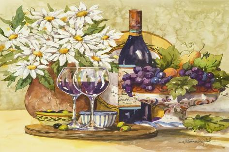 Wine and Daisies-Jerianne Van Dijk-Stretched Canvas Print