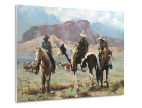 Three Cowboys-Carolyne Hawley-Metal Print