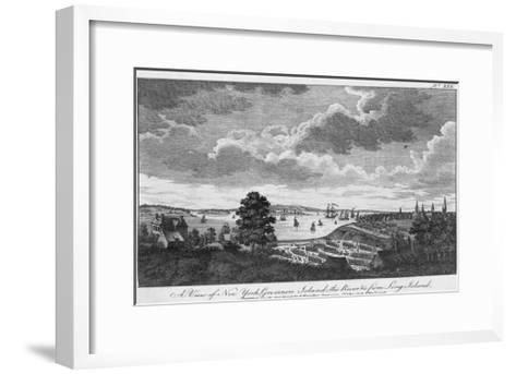 A View of New York, Governors Island, the River from Long Island-A. Hamilton, Jr.-Framed Art Print