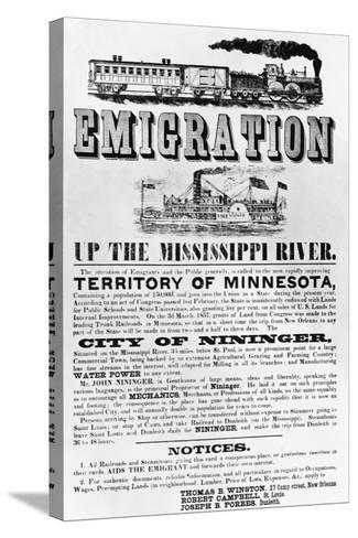 Emigration Up the Mississippi River Advertisement--Stretched Canvas Print
