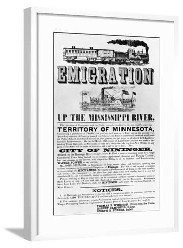 Emigration Up the Mississippi River Advertisement--Framed Art Print