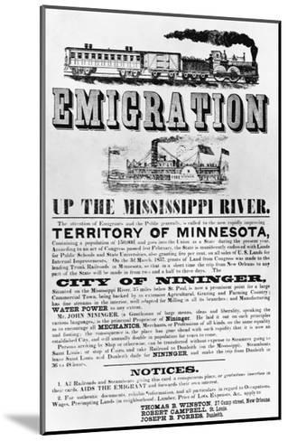 Emigration Up the Mississippi River Advertisement--Mounted Giclee Print