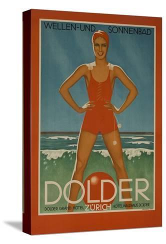 Dolder Grand Hotel Zurich Switzerland Travel Poster Wellen-Und Sonnenbad--Stretched Canvas Print