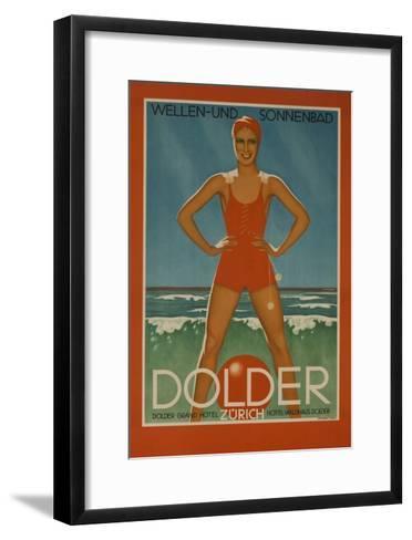 Dolder Grand Hotel Zurich Switzerland Travel Poster Wellen-Und Sonnenbad--Framed Art Print
