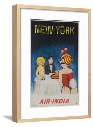 Air India Travel Poster, New York Playboy Bunny--Framed Art Print