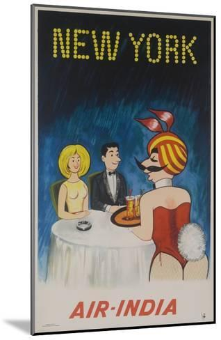 Air India Travel Poster, New York Playboy Bunny--Mounted Giclee Print