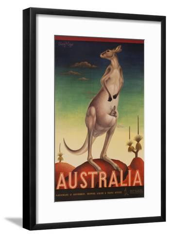 Australia Travel Poster Kanagaroo--Framed Art Print