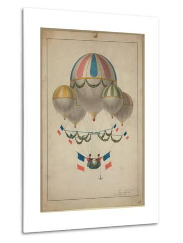 Balloons Carrying Two Men--Metal Print