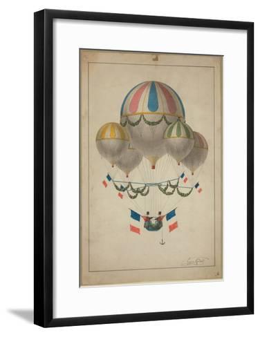 Balloons Carrying Two Men--Framed Art Print