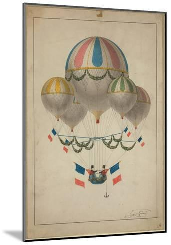 Balloons Carrying Two Men--Mounted Giclee Print