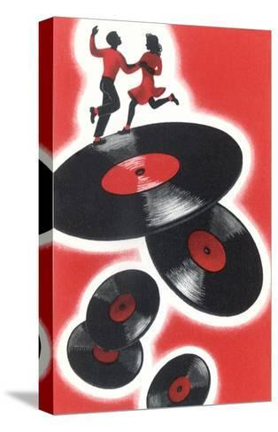 Couple Jitterbugging on Records--Stretched Canvas Print
