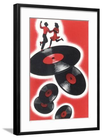 Couple Jitterbugging on Records--Framed Art Print