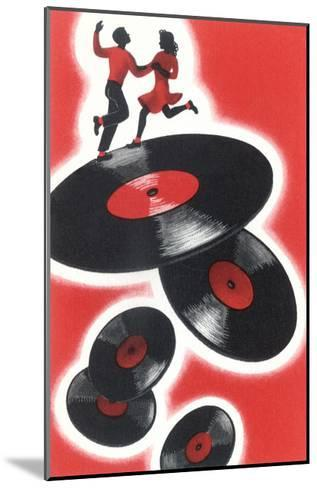Couple Jitterbugging on Records--Mounted Giclee Print