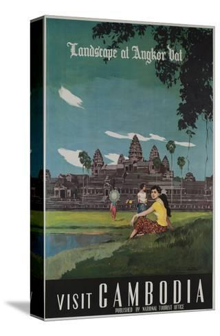Landscape of Angkor Wat, Visit Cambodia 1950s Travel Poster--Stretched Canvas Print